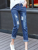 cheap Women's Dresses-Women's Straight Jeans Pants - Solid Colored High Rise