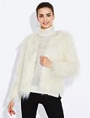 billige Damefrakker og trenchcoats-Dame Ensfarvet Vintage Frakke Imiteret pels