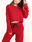tanie Dwuczęściowe komplety damskie-Damskie Aktywny Moda miejska Krótki Bluza z Kapturem Jendolity kolor Nogawka
