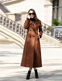 cheap Women's Leather & Faux Leather Jackets-Women's Daily / Work Street chic Fall / Winter Long Coat, Solid Colored Notch Lapel Long Sleeve Cashmere / Wool / Polyester Oversized Brown / Green / Gray XL / XXL / XXXL