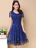 preiswerte Damen Kleider-Damen Übergrössen A-Linie / Chiffon Kleid - Druck, Blumen Knielang Blau