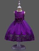 Χαμηλού Κόστους Φορέματα για κορίτσια-Παιδιά Κοριτσίστικα Γλυκός Πάρτι / Φεστιβάλ Μονόχρωμο / Φλοράλ Πούλιες / Ζακάρ Αμάνικο Βαμβάκι / Πολυεστέρας Φόρεμα Ρουμπίνι
