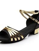 olcso Divatos sálak-Női Latin cipők Selyem Magassarkúk Alacsony Személyre szabható Dance Shoes Fekete és arany / Otthoni / Gyakorlat