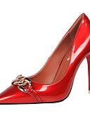 お買い得  ファッションウォッチ-女性用 靴 PUレザー 春 / 秋 ベーシックサンダル ヒール ブラック / レッド / ヌード / パーティー / パーティー