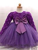 זול שמלות לתינוקות-שמלה כותנה שרוול ארוך צבע אחיד Party בנות תִינוֹק