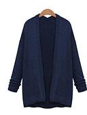 tanie Swetry damskie-Damskie Codzienny Solidne kolory Długi rękaw Długie Sweter rozpinany, Kołnierzyk koszuli Jesień Granatowy XXXL / 4XL / XXXXXL