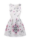 cheap Girls' Dresses-Girl's Birthday Daily Going out Holiday Solid Floral Dress, Cotton Polyester Spring Summer Sleeveless A-Line Slip Pattern Solid Color