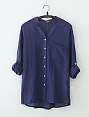 cheap Women's Blouses-Women's Work Plus Size Shirt - Solid Colored V Neck