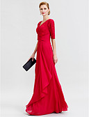 cheap Mother of the Bride Dresses-Sheath / Column V Neck Floor Length Chiffon / Corded Lace Mother of the Bride Dress with Criss Cross by LAN TING BRIDE®