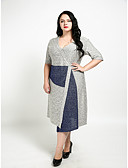 cheap Women's Dresses-Women's Plus Size Vintage Cotton Sheath Dress - Color Block V Neck