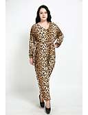 cheap Women's Jumpsuits & Rompers-Cute Ann Women's Plus Size Cotton Jumpsuit - Solid Colored Leopard High Rise Wide Leg Chinos V Neck