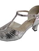 preiswerte Abendkleider-Damen Schuhe für den lateinamerikanischen Tanz Glitzer / Leder Sandalen Maßgefertigter Absatz Tanzschuhe Silber / Blau / Silber / schwarz / Innen