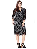 cheap Women's Dresses-Women's Plus Size Going out Sophisticated Bodycon Sheath Lace Dress - Solid Colored Jacquard Lace Cut Out High Rise V Neck