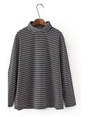 זול טרנינגים וקפוצ'ונים לנשים-כותנה פסים - סוודר שרוול ארוך גולף ליציאה בגדי ריקוד נשים / סתיו / חורף / Stripe פיין