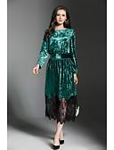 baratos Vestidos Femininos-Mulheres Trabalho Moda de Rua Veludo Bainha / Rendas Vestido Retalhos Longo