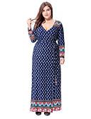 cheap Women's Dresses-Women's Plus Size Party / Going out Boho / Sophisticated Loose / Sheath / Swing Dress - Polka Dot / Geometric / Paisley Cut Out Maxi V Neck