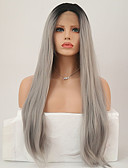 cheap Women's Dresses-Synthetic Lace Front Wig Straight Synthetic Hair Middle Part Sew in Gray Wig Women's Long Lace Front