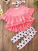 levne Sady oblečení-Dívčí Bavlna Polyester Jednobarevné Geometrický Geometriské vzory Podzim Jaro. Podzim. Zima. Léto Sady oblečení, Poloviční rukáv
