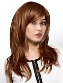 tanie Kwarcowy-Ludzkie Włosy Capless Peruki Włosy naturalne Naturalne fale Część Boczna Długo Tkany maszynowo Peruka Damskie