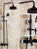 お買い得  女児 ドレス-シャワーの蛇口 - アンティークオイルこすりブロンズセンターセットセラミックバルブ風呂シャワーミキサータップ