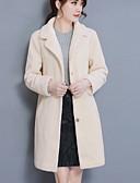 billige Læder & kunstlæderjakker til kvinder-Krave Dame Ensfarvet Simple / Afslappet I-byen-tøj Pelsfrakke