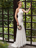 cheap Wedding Dresses-Mermaid / Trumpet Halter Neck Sweep / Brush Train All Over Lace Made-To-Measure Wedding Dresses with Appliques / Lace by LAN TING BRIDE® / Open Back