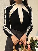 preiswerte Damen Pullover-Damen Baumwolle Langarm Pullover - Solide, Druck Rollkragen