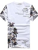 お買い得  新着 メンズシャツ-男性用 プリント プラスサイズ Tシャツ アジアン・エスニック Vネック コットン / 半袖