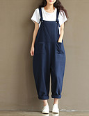 cheap Women's Dresses-Women's Street chic Cotton Jumpsuit - Solid Colored Strap / Loose