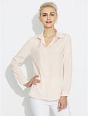 abordables Camisas y Camisetas para Mujer-Mujer Color puro - Algodón Camisa, Cuello Camisero Un Color