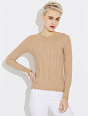 cheap Women's Sweaters-Women's Long Sleeves Cotton Pullover - Solid Colored