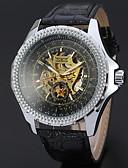 tanie Zegarki mechaniczne-WINNER Męskie Zegarek na nadgarstek / zegarek mechaniczny Hollow Grawerowanie / Nowoczesne Skóra Pasmo Na co dzień Czarny / Nakręcanie automatyczne