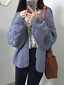 tanie Swetry damskie-Damskie Bawełna W serek Sweter rozpinany Solidne kolory Długi rękaw / Jesień