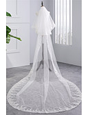 cheap Wedding Veils-Two-tier Wedding Veil Chapel Veils with Sequin / Appliques Tulle / Classic