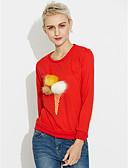 preiswerte Damen Kapuzenpullover & Sweatshirts-Damen Alltag Druck Niedlich Pullover Standard Langarm Rundhalsausschnitt Winter