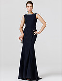 cheap Evening Dresses-Mermaid / Trumpet Jewel Neck Floor Length Chiffon Cocktail Party / Prom / Formal Evening Dress with Beading / Sash / Ribbon / Pleats by TS Couture®