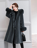 cheap Women's Coats & Trench Coats-Women's Daily / Going out Simple / Casual Fall / Winter Maxi Coat, Solid Colored Hooded Long Sleeve Wool / Polyester / Spandex Black / Purple / Army Green