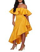 Χαμηλού Κόστους Βραδινά Φορέματα-Γυναικεία Πάρτι / Κλαμπ Κομψό στυλ street Εφαρμοστό / Θήκη Φόρεμα - Μονόχρωμο, Εξώπλατο / Με Βολάν Ασύμμετρο Χαμόγελο / Sexy / Λεπτό