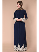 cheap Vintage Dresses-Women's Flare Sleeve Abaya Dress - Solid Colored / Color Block / Stitching Lace Lace High Waist Maxi Square Neck