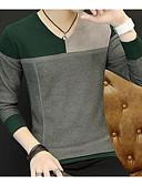 זול סוודרים וקרדיגנים לגברים-קולור בלוק - סוודר רזה צווארון עגול סוף שבוע בגדי ריקוד גברים