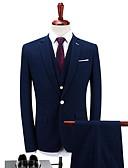 ieftine Fracuri-Albastru Închis Mată Standard Fit Poliester Costum - Cresătură Răsfrânt Un singur rând, un nasture