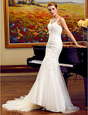 cheap Wedding Dresses-Mermaid / Trumpet Spaghetti Strap Chapel Train Tulle / Lace Over Tulle Made-To-Measure Wedding Dresses with Appliques / Lace by LAN TING