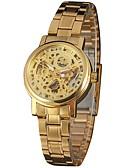 baratos Relógios Mecânicos-WINNER Mulheres Relógio de Pulso Gravação Oca Aço Inoxidável Banda Vintage / Casual / Fashion Prata / Dourada / Automático - da corda automáticamente
