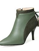hesapli Gece Elbiseleri-Kadın's Ayakkabı PU Sonbahar / Kış Moda Botlar Çizmeler Stiletto Topuk Sivri Uçlu Bootiler / Bilek Botları Elbise / Parti ve Gece için Fiyonk / Kurdele Bağcık Siyah / Yeşil / Badem