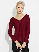 preiswerte Damen Pullover-Damen Alltag Solide Langarm Lang Strickjacke, V-Ausschnitt Herbst Baumwolle Purpur M / L / XL