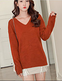 cheap Women's Blouses-Women's Going out Long Sleeve Cotton Cashmere - Solid Colored V Neck / Fall / Winter