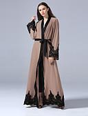 זול שמלות נשים-צווארון V מקסי אחיד / קולור בלוק - שמלה כפתן Party בגדי ריקוד נשים