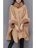 cheap Women's Coats & Trench Coats-Women's Street chic Wool Cloak / Capes - Solid Colored Crew Neck