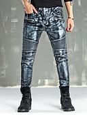 preiswerte Herren-Hosen und Shorts-Herrn Punk & Gothic Baumwolle Schlank Jeans / Chinos Hose - Ripped, Solide / Wochenende