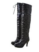 preiswerte Damen Stiefel-Damen Schuhe Lackleder Winter Modische Stiefel Stiefel Runde Zehe Übers Knie für Party & Festivität Weiß / Schwarz / Rot